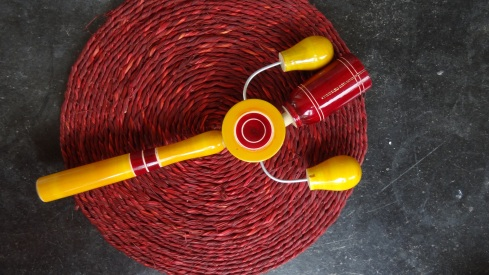 Couldn't resist that bright yellow and the brilliant sound that this Karnataka-made rattle makes!